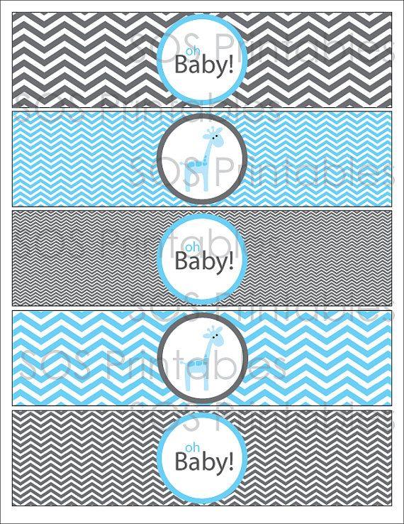 Blue Giraffe Baby Shower Printable Water Bottle Labels