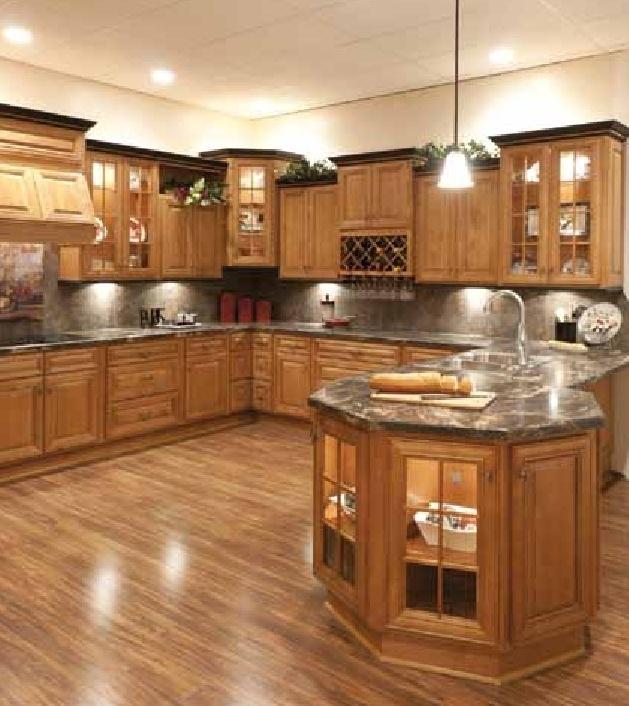 Mocha Glaze Cabinets Kitchen, Mocha Kitchen Cabinets With Granite
