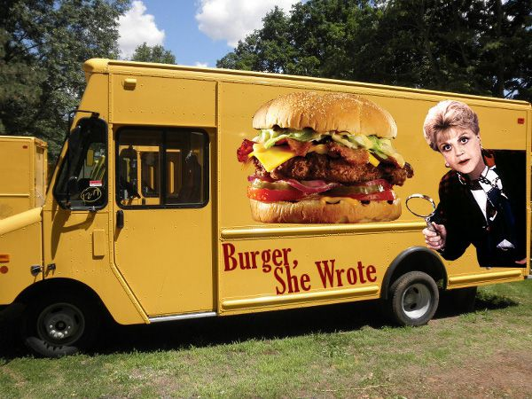 Such a cool idea burger she wrote food truck plays off for Cool food truck designs