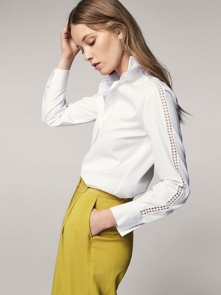 Spring summer 2017 Women´s COTTON SHIRT WITH LACE TRIMS at Massimo Dutti for 89.5. Effortless elegance!