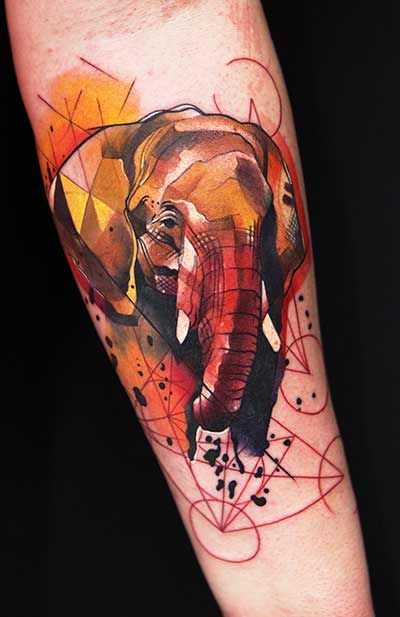 elephant tattoo by Ivana..I love this cubism-esque style!