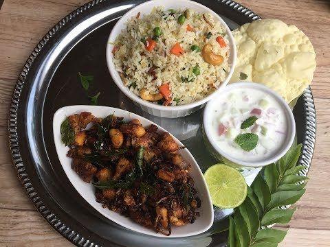 Kids' Lunch Menu # 3 – Boneless Chicken Ularthiyathu, Vegetable Ghee Rice and Raita (With Video)