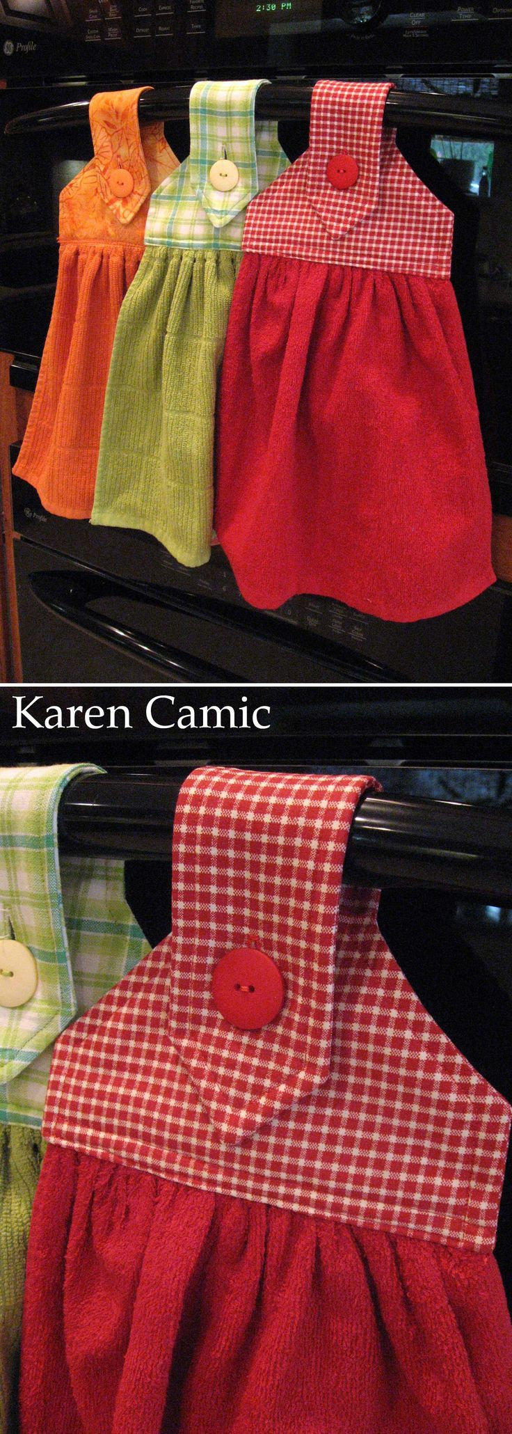 Oven Hand Towels... link for the pattern: http://kleiosbelly.wordpress.com/2010/01/04/christmas-prezzies-6-1-for-you/