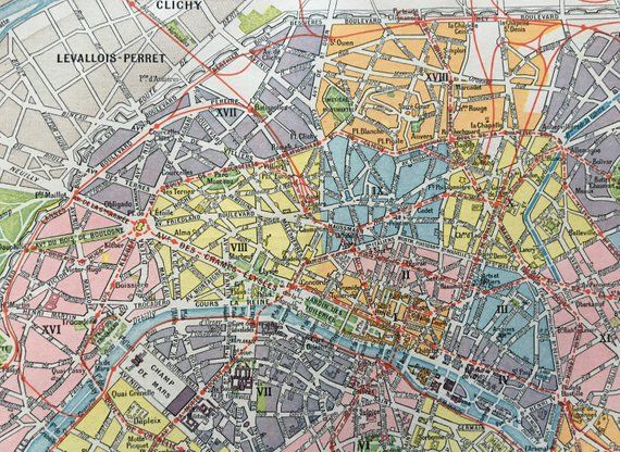 Mapa De Paris Centro.1904 Paris Francia Mapa Del Centro De Paris Lamina A