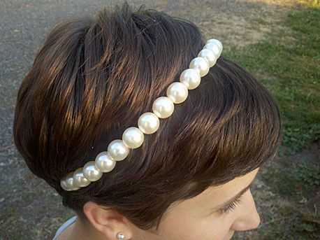 Turn a broken strand of costume pearls into a tiara-esque DIY jewelry headband.