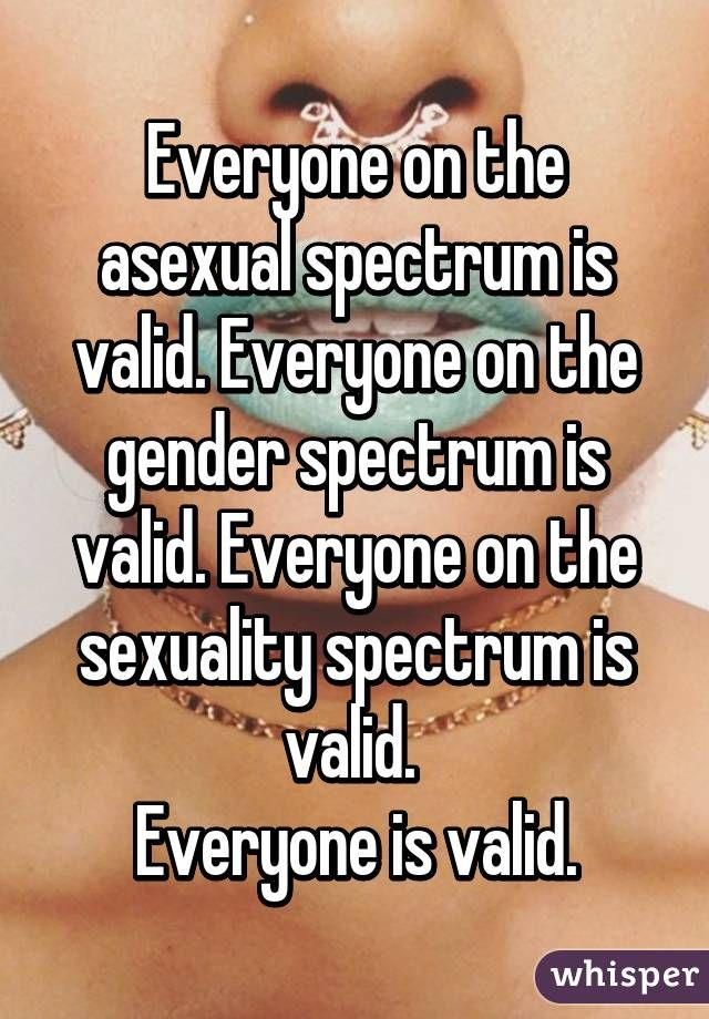 """Everyone on the asexual spectrum is valid. Everyone on the gender spectrum is…"