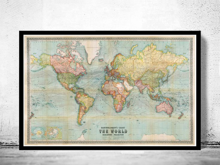 Schöne Welt Karte Vintage Atlas 1914 Mercator-Projektion  Titel: Bartholomäus-Diagramm der Welt 1914 auf Mercators-Projektion.  Dies ist eine Reproduktion einer hochdetaillierten alte Karte.  Die Karte hat verschiedene Dimensionen. Es hat einen weißen Rand 0,2 für die Gestaltung Die Karte ist auf feine Schwergewichts-Papier archival Matte 250gsm gedruckt. Der Rahmen ist nicht im Preis inbegriffen.  Diese Seite wird sorgfältig in einem festen Rohr eingefügt werden. Die Hülse wird in einer…