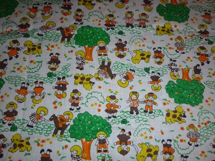Vtg Juvenile Novelty Print Cotton Fabric Boy Girl Green Orange Brown 44 x 52""