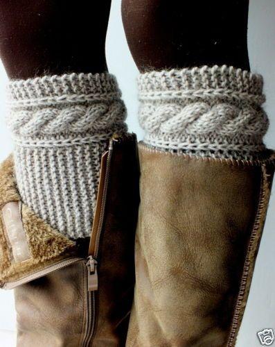 Hand Knit Boot Cuffs Boot Toppers Leg Warmers Beige Cashmere Kidmohair Blend | eBay