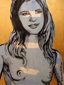 """DAVID BROMLEY """"Nude"""" Polymer & Gold Leaf on Canvas 120cm x 90cm"""