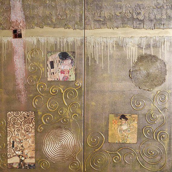 #wallart  #Klimt #Abstract #Painting #diptych #textured #wall #art  A182