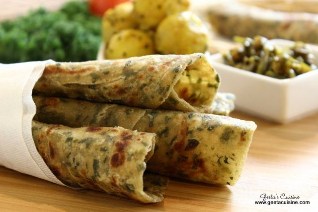 Lachha paratha is a layered Indian flat bread. Generally lachha paratha is made with all purpose flour however I have made is using wheat flour. Adding kale and spinach make its more healthy and tasty.
