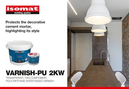 VARNISH-PU 2KW is ideal for indoor applications in poorly ventilated spaces, as it is water-based and thus almost odorless. It shows excellent mechanical and chemical strength, while being extremely resistant to weather conditions and UV radiation. Suitable for waterproofing and protecting decorative cement mortars, concrete, natural stones, wood and epoxy paints. For further details, please visit our website: http://www.isomat.eu/…/VARNISH-PU-…/flypage_centiva.tpl.html