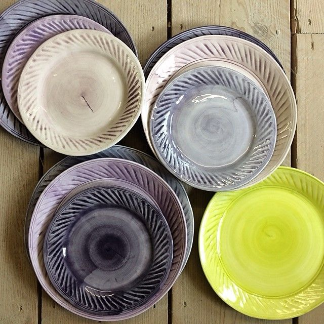 """PLATES PLATES PLATES! Large dinner plate 29cm/11.5"""" - £18.50 Medium size/dishwasher size 27.5cm/10.5"""" - £17.50 Small/Breakfast/Side plate 21.5cm/8.5"""" - £16.35 All sizes may vary slightly because of kiln shrinkage. All colours are hand mixed at the time of application and will vary from batch to batch. These are ribbed plates which I make in a mould of my original design. The plates are fairly open/flat but as they are handmade they will potentially have a small characterful wave in them."""