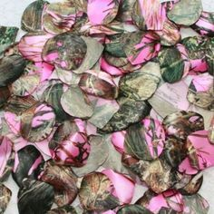 These pink camo rose petals are perfect for your camo wedding, or country wedding. $9.95 There are 100 rose petals for your flower girl to toss, or for you to decorate with. Other camo prints and solid colors available.