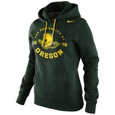 Nike Oregon Ducks Ladies School Stamp Pullover Hoodie - Green