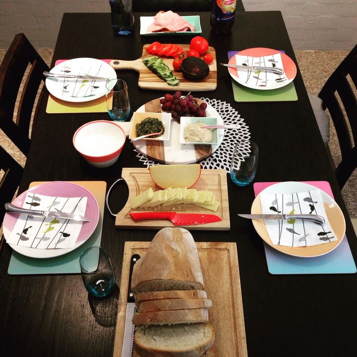 Lunch spread. Build your own sandwiches. Carrie in the kitchen