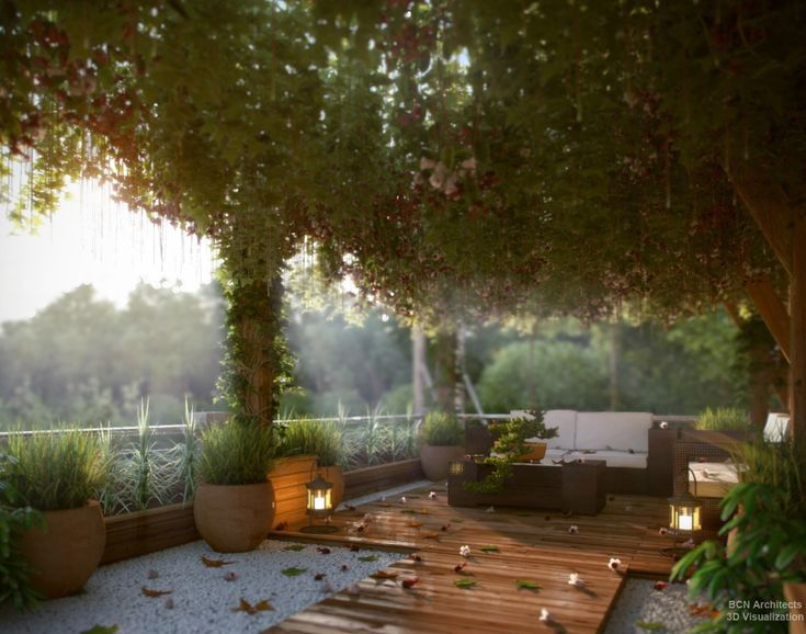 Bedroom Designs, 7 Outside Seating Area Decking: Modern Exteriors With Nature Scheme