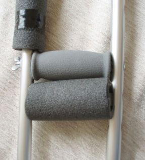 How to use pipe insulation to make cushy padding for crutches My husband is on crutches for the first time. His biggest complaint has been sore elbows from hitting himself with the back of the crutch. Padding seemed like it might help. Putting pipe insulation over the aluminum tubing spare the elbows and provides very cushy padding on the hand grips. Update: Sadly the cushy aspect of the hand grips is temporary. The insulation permanently squishes in time... but it's nice for a while (a w...
