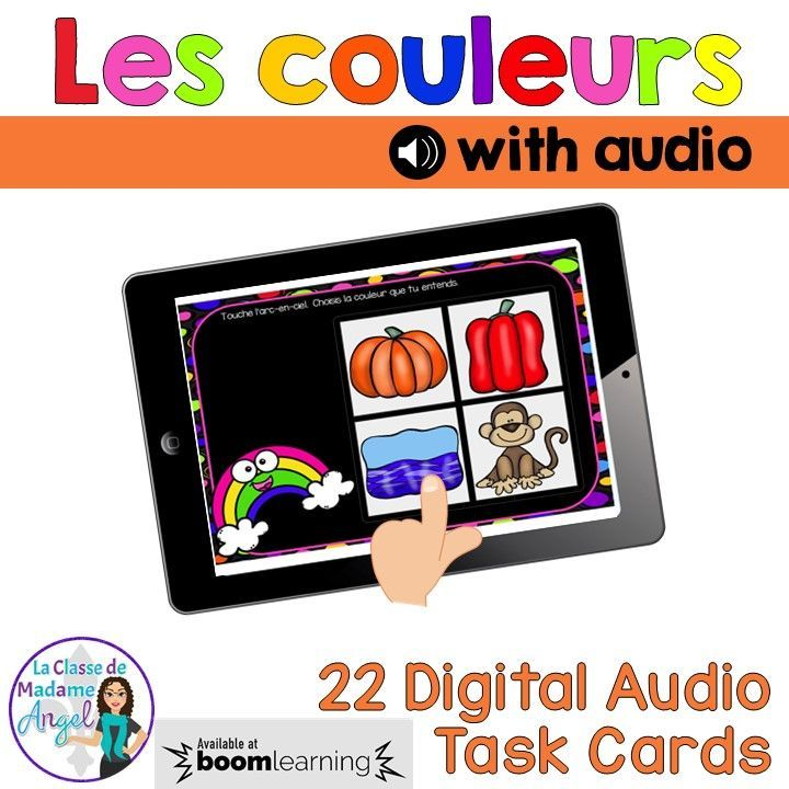 Les couleurs!  This set of 22 digital task cards in French includes audio.  Students need to listen to the colour name and then choose the correct image.  Perfect activity for the paperless classroom!