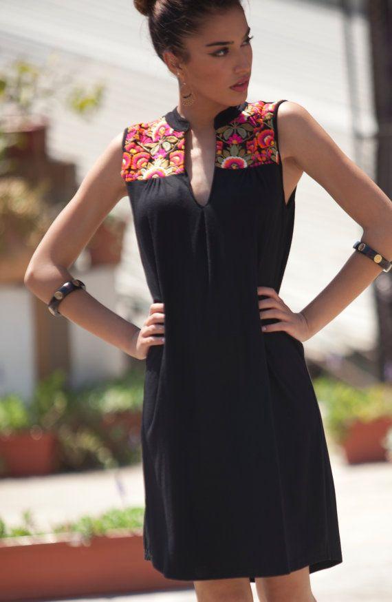 Tribales vestido corto de verano, marroquí inspirado vestido caftán, étnico negro vestido, vestido bordado, kaftan, vestido de Lycra negro, vestido bohemio