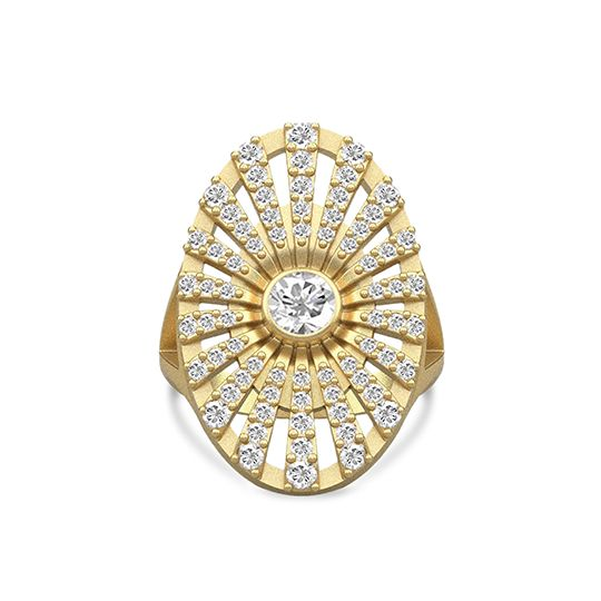 Estate gold plated ring faceted with zirconia
