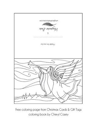 Free Coloring Page To Print From Christmas Cards Gift Tags Book For Adults