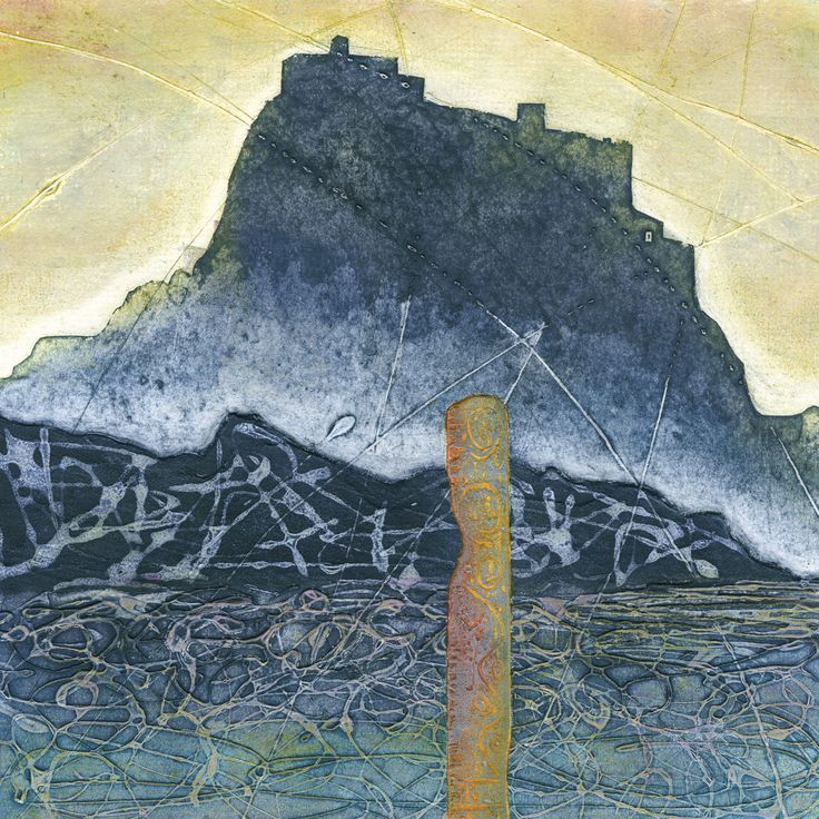 Lindisfarne at Dawn -  A collagraph print made using a mount board plate  , scored, with carborundum and PVA with a smaller separate plate for the post made from .8mm wood ply burnt with a blow torch.