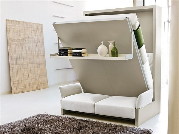 Storage wall with Pull-Down Double Bed 2 - For a reading nook but without the sofa underneath, like the addition of the shelf