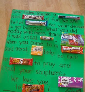 """My nephew is getting baptized  on Saturday.   Here is our gift to him:      """"Dear Anden, You are a Sweetart  and Mounds  of fun. We are full..."""