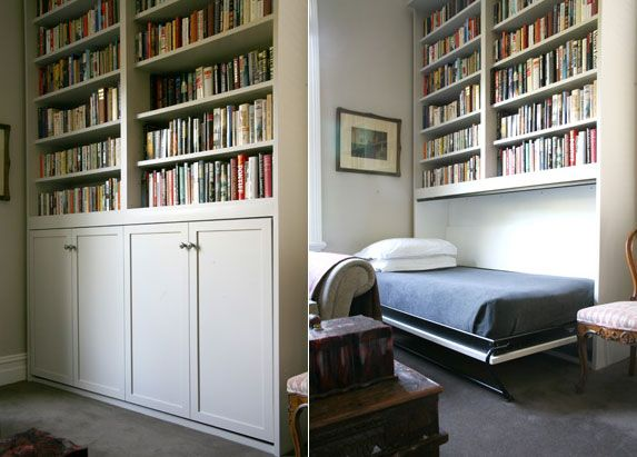 Side Tilt Murphy Bed, guest room #bookshelf #library #roomwithbooks