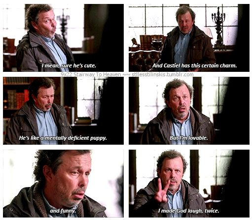 9x22 Stairway To Heaven [gifset] - He's like a mentally deficient puppy. - Metatron to Gadreel, Curtis Armstrong's expressions were too good to miss and I have tons of Tahmoh shots.