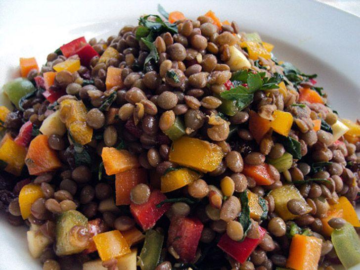 Σαλάτα με φακές και πιπεριές