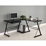 """Walker Edison Soreno 3-Piece Corner Desk, Black with Black Glass   Polished and beveled, tempered safety glass Sturdy steel frame with powder coat finish Includes sliding keyboard trey and CPU stand Measures 51″ W x 20″ D x 29 """" H (51″ overall depth) Ships ready to build..."""