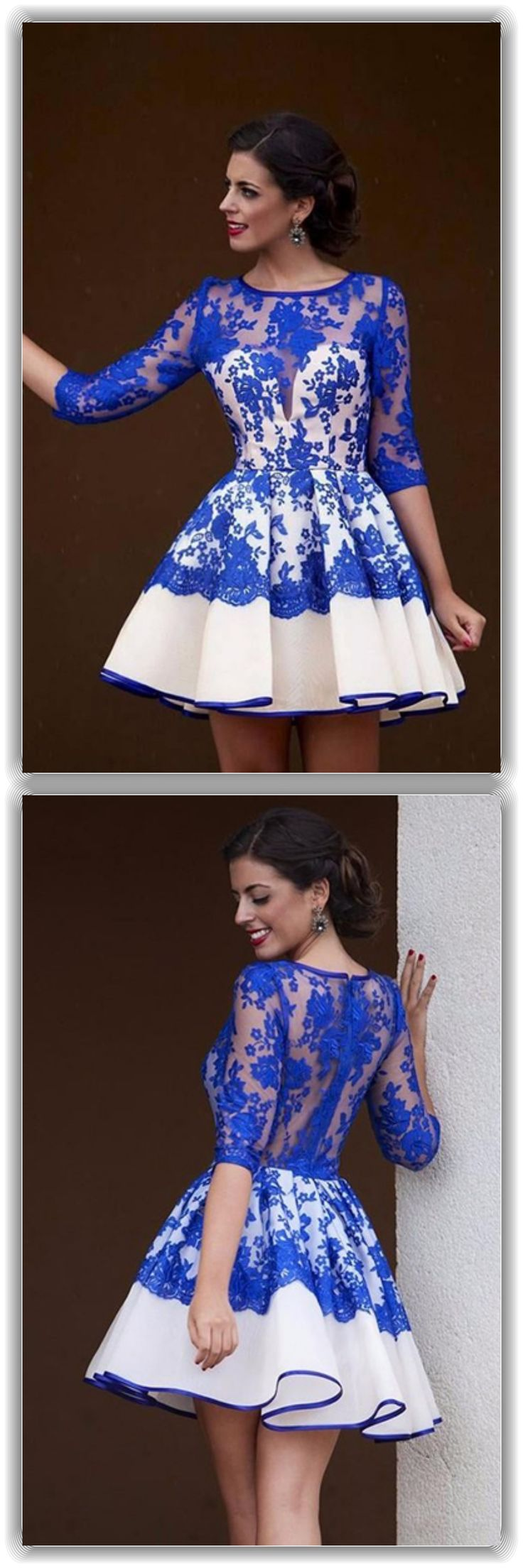 homecoming dresses 2017, blue lace  homecoming dresses,round neck  homecoming dresses, 3/4 sleeves homecoming dresses, short homecoming dresses, satin homecoming dresses, cocktail dresses, party dresses #SIMIBridal #homecomingdresses
