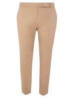 Womens Stone Metal Tab Cotton Sateen Trousers- Beige