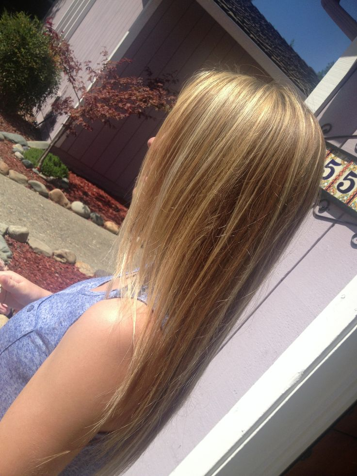 Golden And White Blonde Highlights With Lowlights Hair