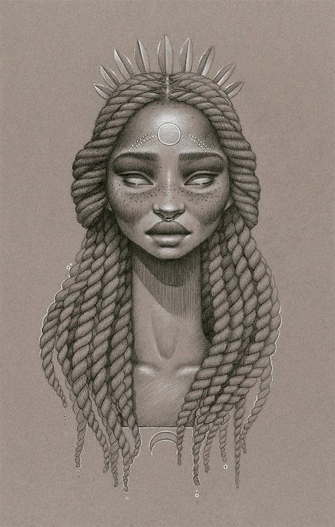 • love beauty art vintage passion african american black women black art Goddess native afro natural hair twist out Cleopatra black love paintings braid out african art afrocentrism Sarah Golish voilalasunshiine •