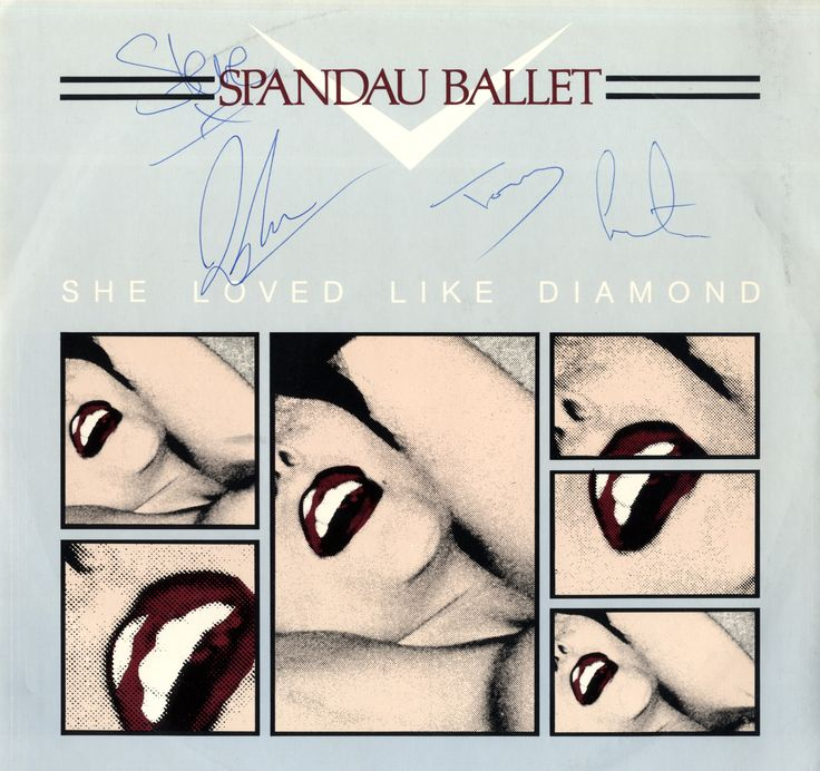 """SPANDAU BALLET: Signed 12"""" record sleeve for She Loved Like Diamond, Instrumental Version, issued by Chrysalis Records, 1982, individually signed by four of the band members comprising Tony Hadley, Steve Norman, John Keeble and Martin Kemp. All have signed with their first names in blue ink to clear areas of the front cover."""