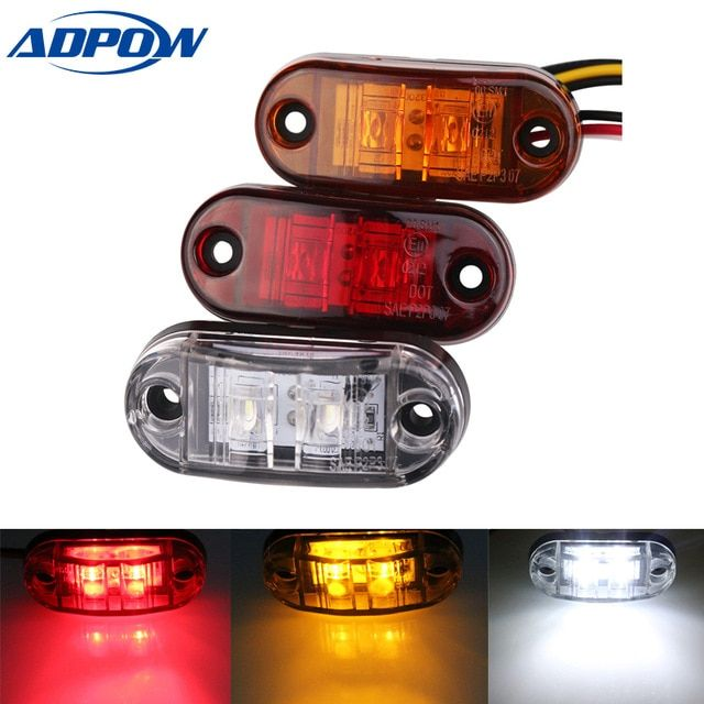 24v 12v 1pc Led Side Marker Led Light For Cars Trucks Trailers Clearance Lamp Lights For Trailer Boat Lorry Van White Red Amber R Car Led Lights Trucks 12v Led