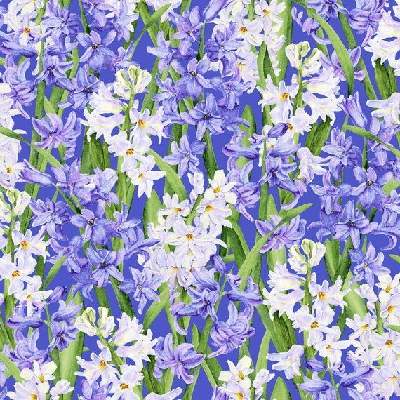 Lavender White Hyacinths Purple Background Bloomfield Avenue Rjr Fabrics 3565j 002 By The Yard Purple Backgrounds Fabric Purple