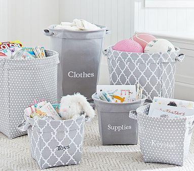 Gray Canvas Storage bins