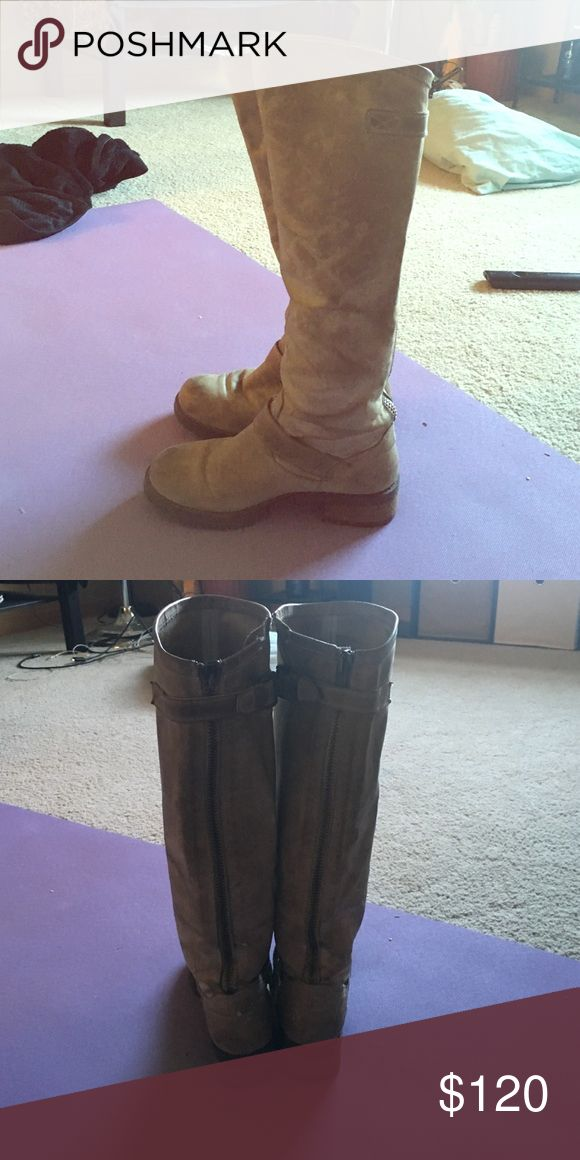 Steve Madden high top boots size 7 100% real leather, lightly warn adorable boots Steve Madden Shoes Over the Knee Boots