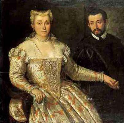 With Stomacher. Venetian. Anonymous (maybe Veronese) Portrait of a Nobleman and his Wife Private Collection ca. 1560