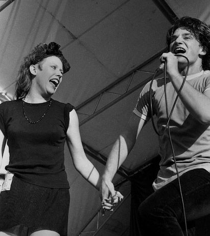 Hazel O'Connor and Bono  by Andy Spearman, Slane 1981