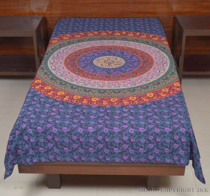 Single Size Pink Bed Cover Multicolored Print Wall Bed Sheet Indian IWUS BS16 #Handmade