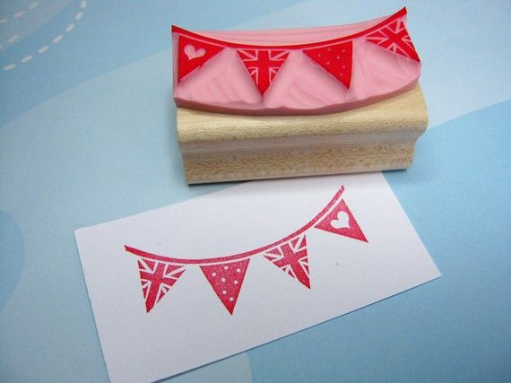 Bunting Stamp  Union Jack Bunting  Hand by skullandcrossbuns on etsy