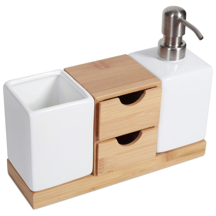 ToiletTree Products Bamboo Bathroom Soap Dispenser and Organizer. Keep your bathroom counter top free from clutter with our attractive organizer.