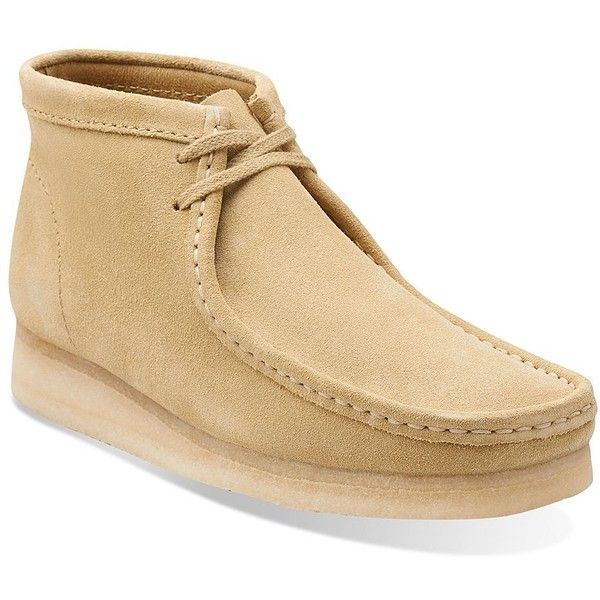 Clarks Wallabee Leather Chukka Boots ($140) ❤ liked on Polyvore featuring men's fashion, men's shoes, men's boots, maple, mens chukka shoes, clarks mens boots, mens chukka boots, clarks mens shoes and mens shoes chukka boots