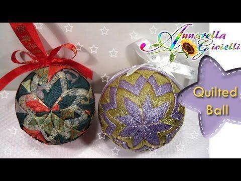 ▶ Tutorial Palla Di Natale con stoffa | DIY Quilted Ball - YouTube